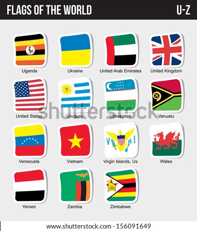 Vector set of Flags world sorted alphabetically. (U-Z) - stock vector
