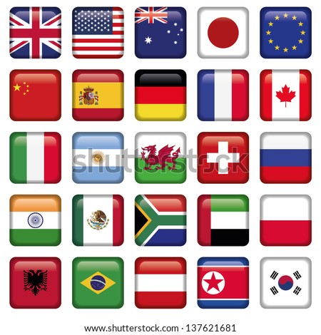 Vector set of Flags world top states - stock vector