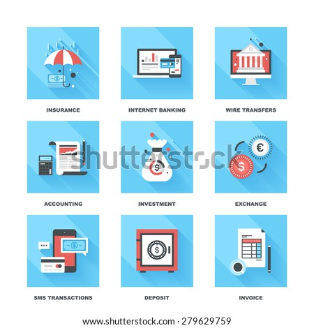 Vector set of flat banking and finance icons on following themes - insurance, internet banking, wire transfers, accounting, investment, exchange, sms transactions, deposit, invoice - stock vector