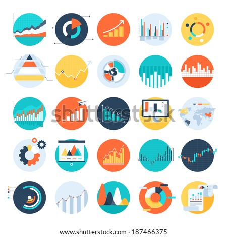 Vector set of flat business chart icons - stock vector