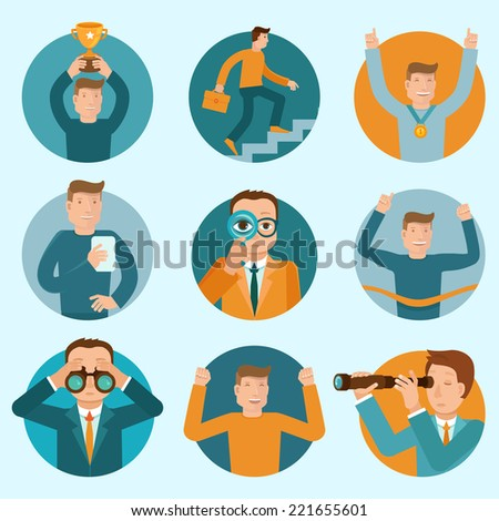 Vector set of flat business illustrations and concepts - cartoon characters winning, developing and improving their careers - stock vector