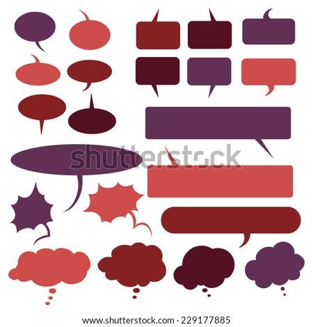 Vector Set of Flat Comics  Bubbles. Talk and Think - stock vector