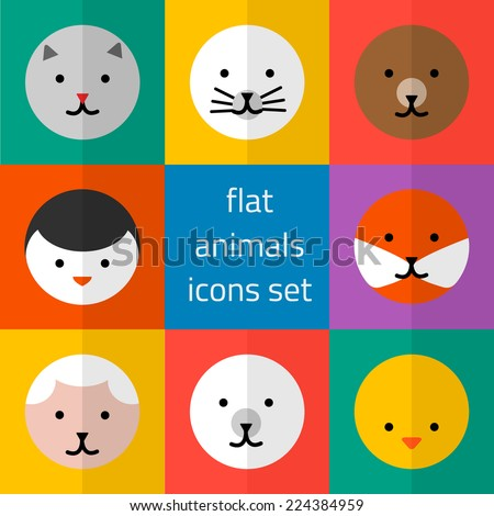 Vector set of flat cute animals icons - stock vector