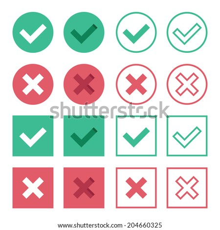 Vector Set of Flat Design Check Marks Icons. 8 Different Variations of Ticks and Crosses Represents Confirmation,  Right and Wrong Choices, Task Completion, Voting, etc. Isolated on White Background. - stock vector