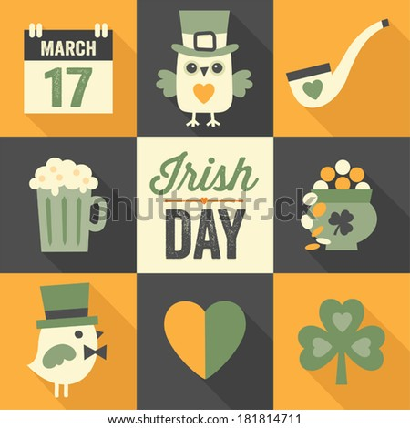 Vector set of flat icon designs with long shadow for St. Patrick's Day in green, orange and black. - stock vector