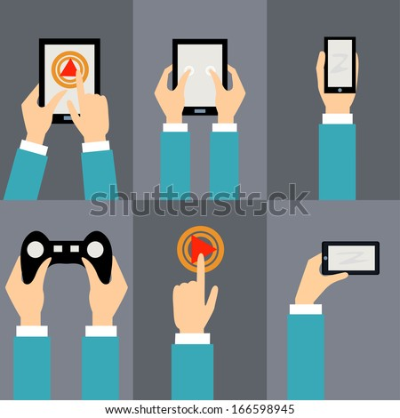 Vector set of flat icons - mobile phone, tablet PC, button, joystick, navigator - stock vector