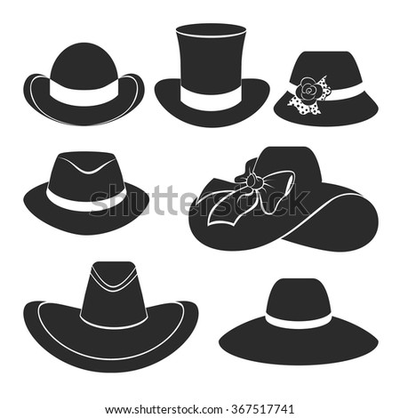vector set of flat icons with classic hats - stock vector