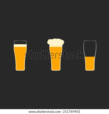 Vector set of flat icons with glasses of beer.Full glass  with bubbles,foam, half-empty mug. Light, dark, cold, yellow ale, guinness.Pint in conical glassware.Concept of alcohol beverages, tavern, pub - stock vector