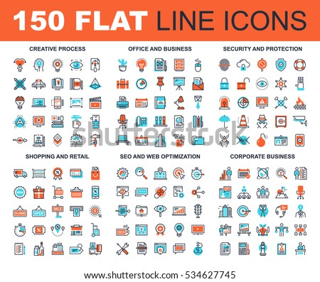 Vector set of 150 flat line web icons on following themes - creative process, corporate business, office and business, security and protection, shopping and retail, SEO and web optimization.