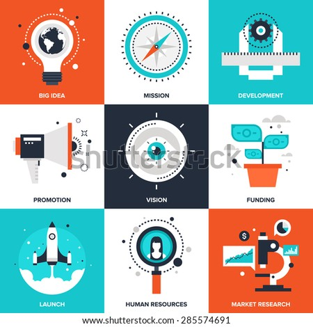 Vector set of flat startup and new business icons on following themes - big idea, mission, development, promotion, vision, funding, launch, human resources, market research. - stock vector
