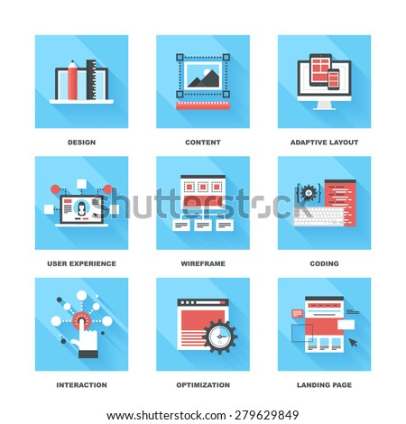 Vector set of flat web development icons on following themes - design, content, adaptive layout, user experience, wireframe, coding, interaction, optimization, landing page - stock vector