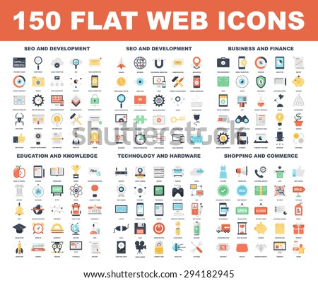Vector set of 150 flat web icons on following themes - SEO and development, business and finance, education and knowledge, technology and hardware, shopping and commerce. - stock vector