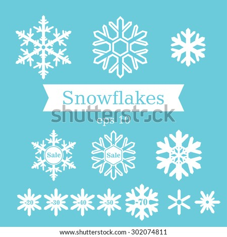 Vector set of flat white snowflakes on a blue background. - stock vector