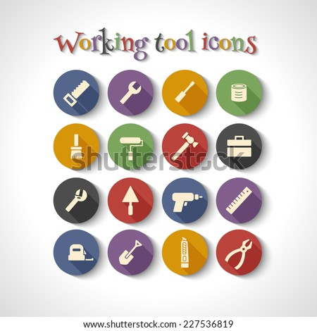 Vector set of 16 flat working tools icons with long shadows. - stock vector