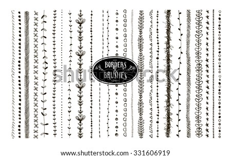 Vector set of floral and geometric decorative brushes. All used pattern brushes are included in brush palette. Ink illustration. Seamless hand drawn  brushes with inner and outer corner tiles. - stock vector