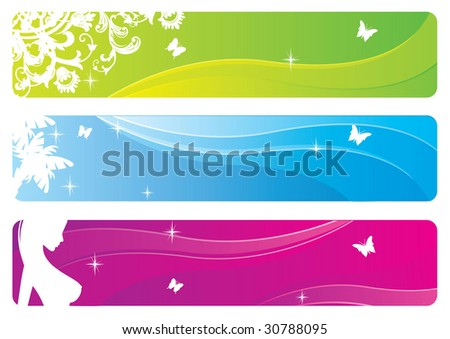 Vector set of floral banners - stock vector