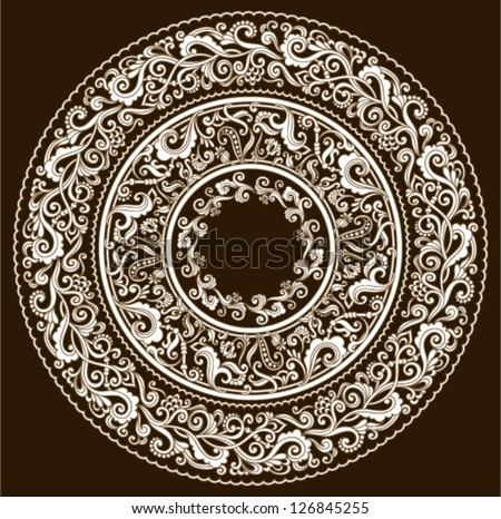Vector set of floral elements. Ornamental pattern for frames and borders. Vintage style - stock vector