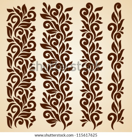 Vector set of floral elements. Seamless pattern for frames and borders. Elements are grouped for convenience - stock vector