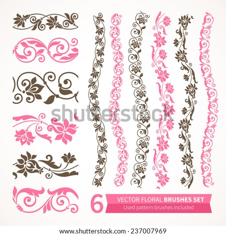 Vector set of floral elements. Seamless pattern for frames and borders. Used pattern brushes included. - stock vector