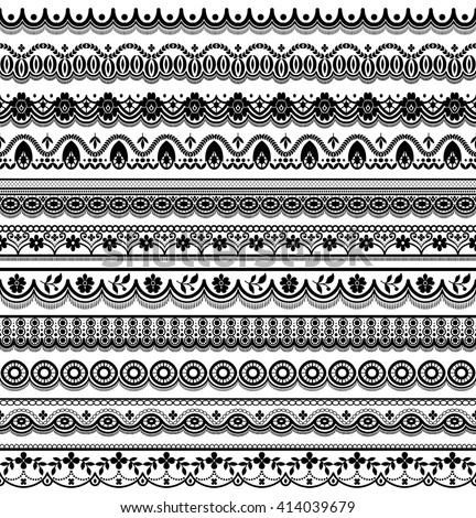 Vector set of floral elements. Seamless pattern for frames and borders. Used pattern brushes included.