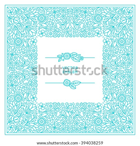 Vector set of floral monogram and logo design template in trendy linear style - florist and wedding concepts with copy space for text - invitation and greeting card print template