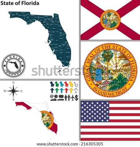 Vector set of Florida state with flag and icons on white background - stock vector