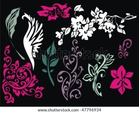 VECTOR Set of flower elements, ornaments and patterns - stock vector