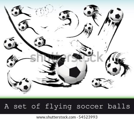 Vector Set of flying soccer balls. - stock vector