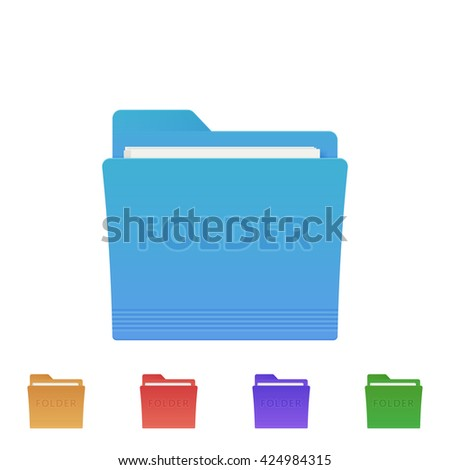 Vector set of folder icons. Colorful vector folder icons. Vector folder. Folder web icon. - stock vector