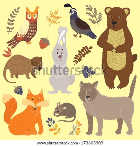 Vector set of forest animals: bear, fox, rabbit, wolf, nutria,  vole, owl, quail and floral elements. Cute hand drawing characters. - stock vector