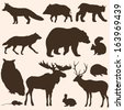 vector set of forest animals silhouettes - stock