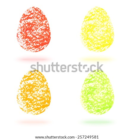 Vector set of four bright color easter eggs (red, yellow, orange, green) isolated on white background. Hand drawn oil pastel texture.  - stock vector