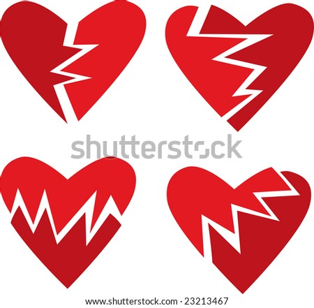 Vector set of four broken hearts
