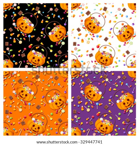 Vector set of four colorful seamless patterns with Halloween candies.  - stock vector