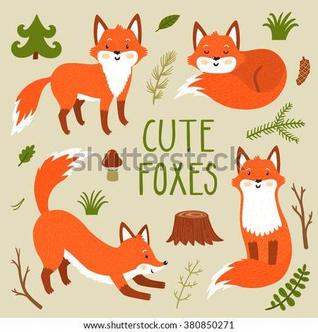 Vector set of four cute foxes an forest plants. Funny hand drawn cartoon characters. Can be used in childish posters, card, invitations and others. - stock vector