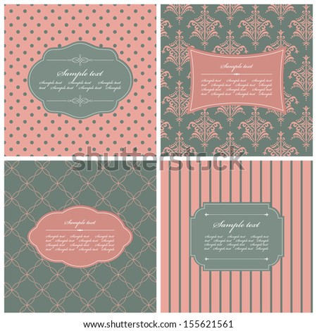 Vector set of four different seamless pattern with vintage frames.