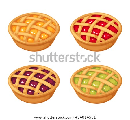 Vector set of four fruit and berry crumble pies isolated on a white background.