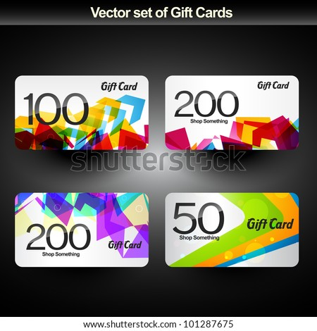 vector set of four gift card - stock vector