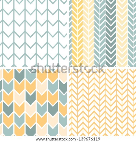 Vector set of four gray and yellow chevron patterns and backgrounds - stock vector