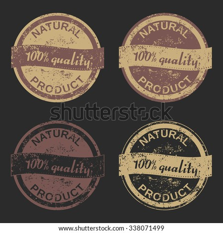 "Vector set of four grunge signs ""Natural Product"" consists of two bicolored emblems and two monochrome stamps for your design projects. Fully editable. May be used in advertising and packaging design. - stock vector"