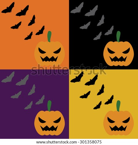 Vector set of four halloween seamless patterns. Cartoon pumpkinsand skulls. Halloween elements for scrap-booking. - stock vector