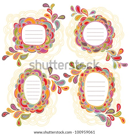 Vector set of four hand written frame with colorful doodling elements - stock vector