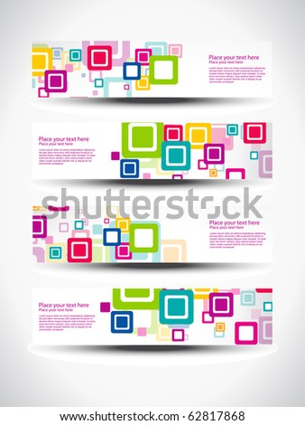 vector set of four header design - stock vector