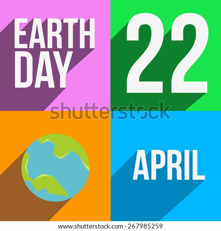 Vector set of four long shadow card designs for Earth Day. - stock vector