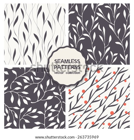 Vector set of four seamless patterns. Floral repeating backgrounds. Stylish collection of  swatches. Diagonal branches with berries. Thin monochrome leaves. Modern graphic design - stock vector