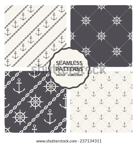 Vector set of four seamless patterns. Marine textures with anchors, chains and steering wheels. Vector stylish monochrome prints - stock vector