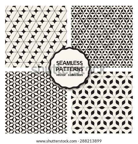 Vector set of four seamless patterns. Repeating geometric tiles. Collection of trendy textures from triangles. Geometric hipster textures. Modern graphic design. - stock vector