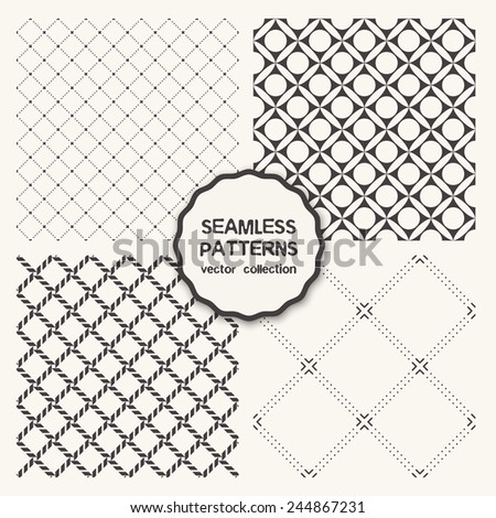 Vector set of four seamless patterns. Repeating geometric tiles with dotted squares, linear rhombuses, simple stylish backgrounds - stock vector