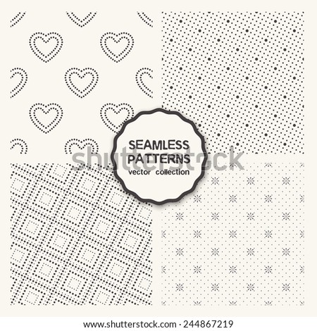 Vector set of four seamless patterns. Repeating geometric tiles with rotated dotted squares, simple stylish backgrounds with dotted hearts, geometric flowers - stock vector