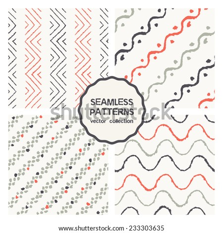 Vector set of four seamless patterns. Stylish collection with tileable swatches. Colorful prints, backgrounds made with brush strokes, tiny points, dotted diagonal stripes, zigzag and waves - stock vector